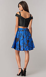 Image of print two-piece satin homecoming dress with pockets. Style: DJ-A6110 Detail Image 2