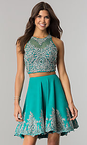 Image of two-piece short prom dress with lace applique.  Style: DJ-A5476 Front Image