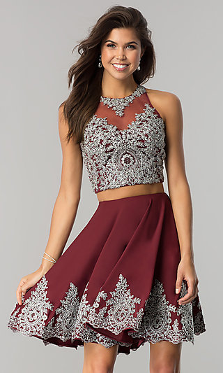 Two-Piece Short Prom Dress with Lace Applique