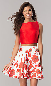 Image of two-piece short wedding-guest dress with print skirt. Style: DJ-A6043 Front Image