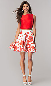 Image of two-piece short wedding-guest dress with print skirt. Style: DJ-A6043 Detail Image 1
