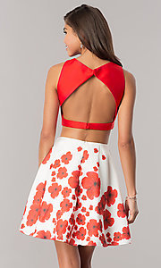 Image of two-piece short wedding-guest dress with print skirt. Style: DJ-A6043 Back Image