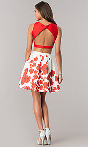 Image of two-piece short wedding-guest dress with print skirt. Style: DJ-A6043 Detail Image 3