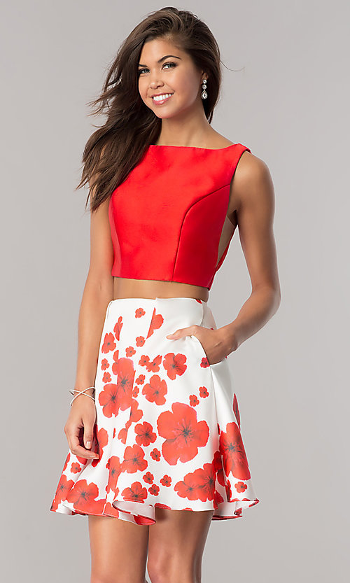 Image of two-piece short wedding-guest dress with print skirt. Style: DJ-A6043 Detail Image 2