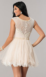 Image of Dave and Johnny lace short homecoming party dress. Style: DJ-A5669 Back Image
