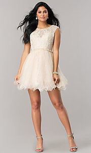 Image of Dave and Johnny lace short homecoming party dress. Style: DJ-A5669 Detail Image 1