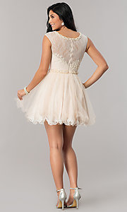 Image of Dave and Johnny lace short homecoming party dress. Style: DJ-A5669 Detail Image 2