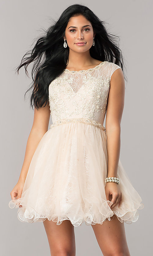 Image of Dave and Johnny lace short homecoming party dress. Style: DJ-A5669 Front Image
