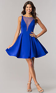 Image of Dave and Johnny short blue homecoming party dress. Style: DJ-A5403 Detail Image 1