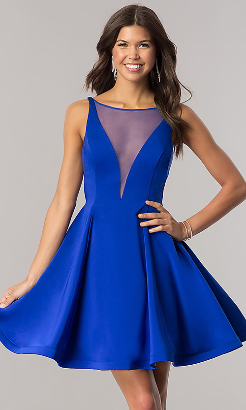 Image of Dave and Johnny short blue homecoming party dress. Style: DJ-A5403 Front Image