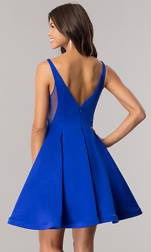 Image of Dave and Johnny short blue homecoming party dress. Style: DJ-A5403 Back Image