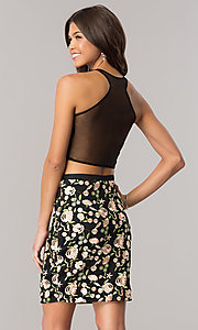 Image of sheer-back embroidered two-piece short party dress. Style: DJ-A5521 Back Image