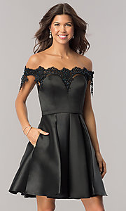 Image of beaded-neckline short black homecoming party dress. Style: DJ-A6014 Front Image