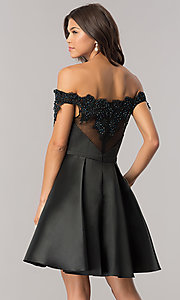 Image of beaded-neckline short black homecoming party dress. Style: DJ-A6014 Back Image