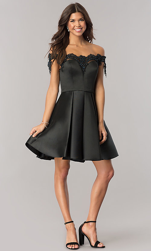 Image of beaded-neckline short black homecoming party dress. Style: DJ-A6014 Detail Image 2