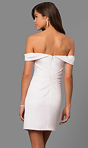 Image of off-the-shoulder satin short homecoming party dress. Style: FA-8050 Back Image