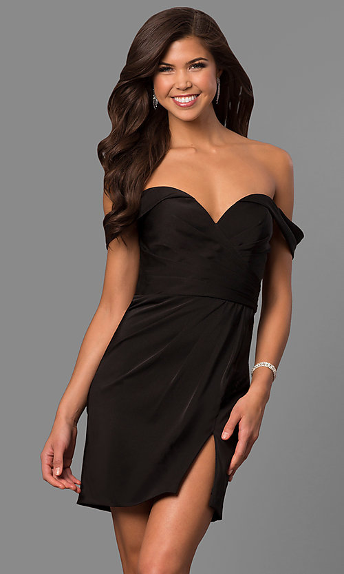 Image of off-the-shoulder satin short homecoming party dress. Style: FA-8050 Detail Image 3