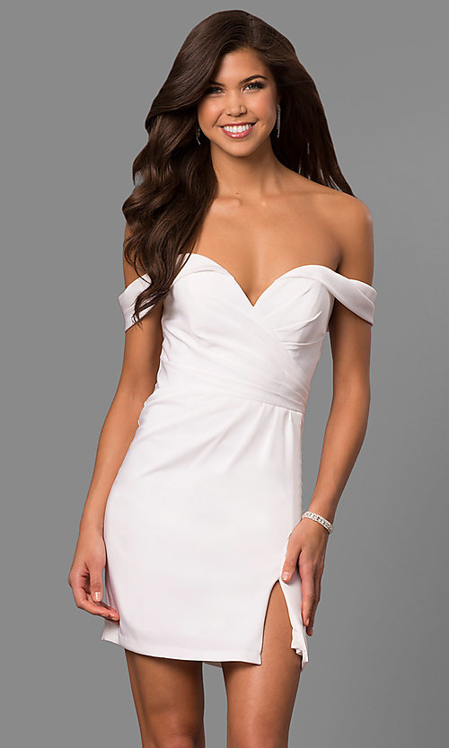 Image of off-the-shoulder satin short homecoming party dress. Style: FA-8050 Detail Image 2