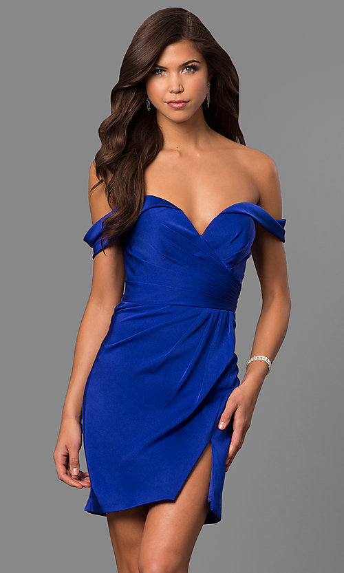 Image of off-the-shoulder satin short homecoming party dress. Style: FA-8050 Detail Image 1