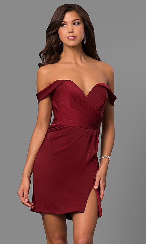 Image of off-the-shoulder satin short homecoming party dress. Style: FA-8050 Front Image