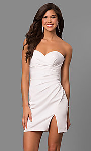 Image of strapless sweetheart short party dress with slit. Style: FA-8051 Detail Image 3
