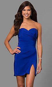Image of strapless sweetheart short party dress with slit. Style: FA-8051 Front Image
