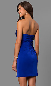 Image of strapless sweetheart short party dress with slit. Style: FA-8051 Back Image
