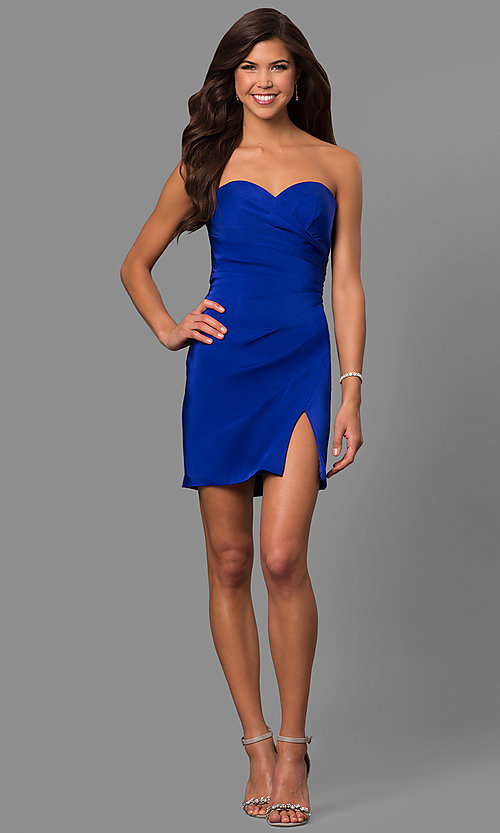 Image of strapless sweetheart short party dress with slit. Style: FA-8051 Detail Image 2