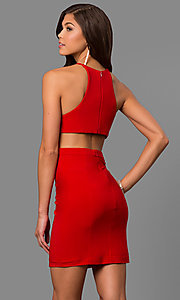 Image of Faviana high-neck short homecoming dress with slit. Style: FA-8053 Back Image