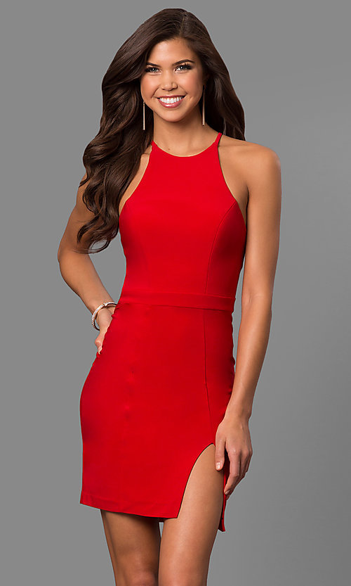 Image of Faviana high-neck short homecoming dress with slit. Style: FA-8053 Detail Image 1