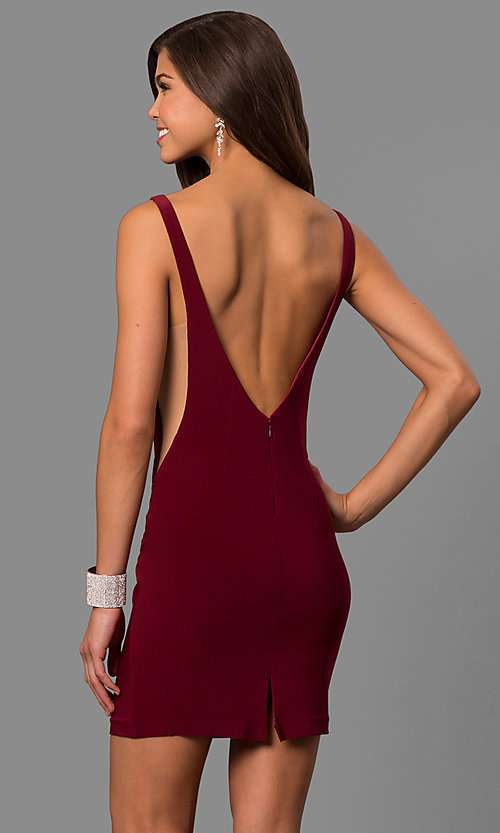 Image of bateau-neck open-back Faviana short prom dress. Style: FA-8055 Back Image