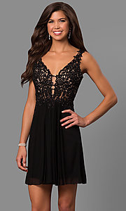 Image of lace-bodice short homecoming dress by Faviana. Style: FA-8070 Detail Image 1