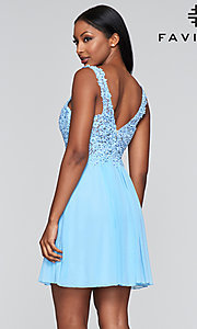 Image of lace-bodice short homecoming dress by Faviana. Style: FA-8070 Detail Image 3