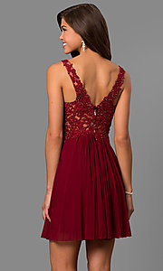 Image of lace-bodice short homecoming dress by Faviana. Style: FA-8070 Back Image