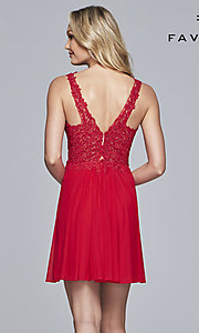 Image of lace-bodice short homecoming dress by Faviana. Style: FA-8070 Detail Image 6