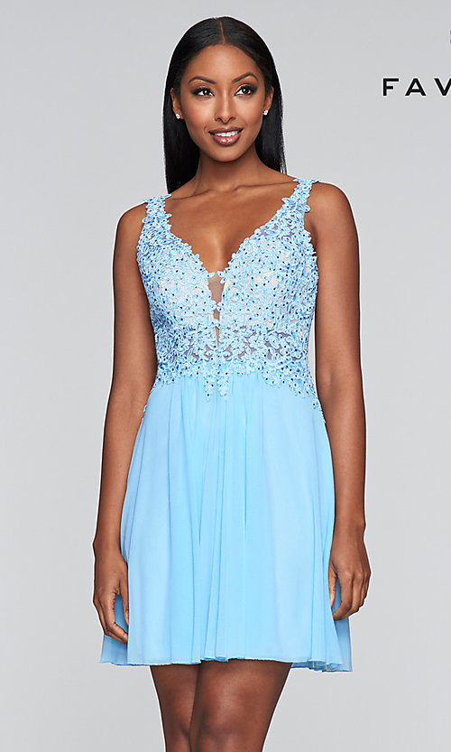 Image of lace-bodice short homecoming dress by Faviana. Style: FA-8070 Detail Image 2