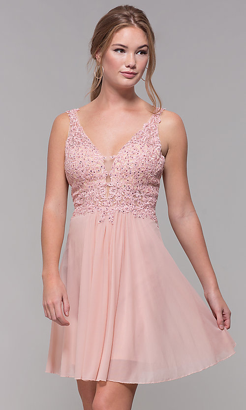 Image of lace-bodice short homecoming dress by Faviana. Style: FA-8070 Front Image