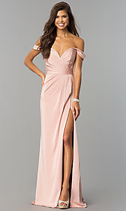 Image of Faviana off-shoulder ruched satin evening dress. Style: FA-8083 Front Image