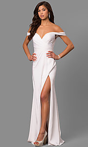 Image of Faviana off-shoulder ruched satin evening dress. Style: FA-8083 Detail Image 3