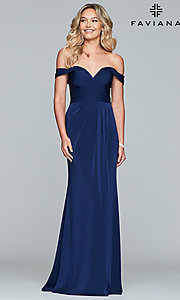 Image of Faviana off-shoulder ruched satin evening dress. Style: FA-8083 Detail Image 4