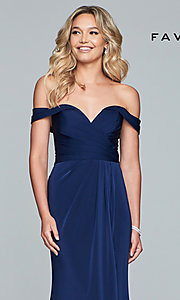 Image of Faviana off-shoulder ruched satin evening dress. Style: FA-8083 Detail Image 6
