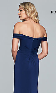 Image of Faviana off-shoulder ruched satin evening dress. Style: FA-8083 Detail Image 7