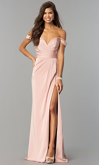 Faviana Off-Shoulder Ruched Satin Evening Dress