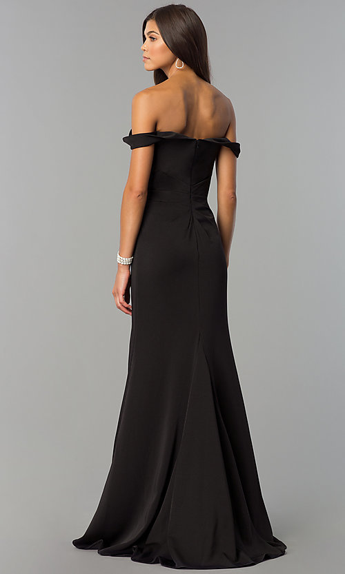 Image of Faviana off-shoulder ruched satin evening dress. Style: FA-8083 Back Image