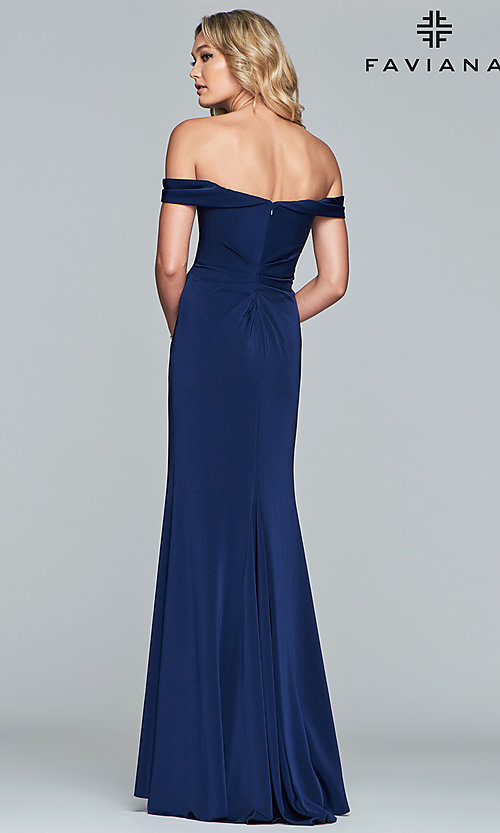 Image of Faviana off-shoulder ruched satin evening dress. Style: FA-8083 Detail Image 5