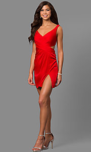 Image of satin short homecoming party dress with cut out. Style: FA-8052 Detail Image 3