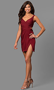 Image of satin short homecoming party dress with cut out. Style: FA-8052 Detail Image 1