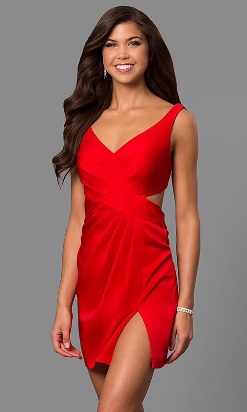 Image of satin short homecoming party dress with cut out. Style: FA-8052 Detail Image 2