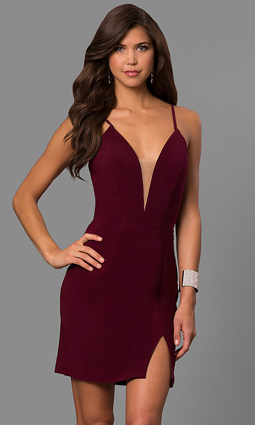 Image of v-neck short cocktail party dress with lace-up back.  Style: FA-8054 Detail Image 2