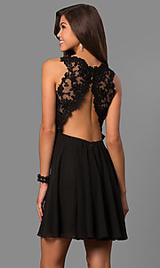 Image of short wedding-guest party dress with lace applique. Style: FA-8072 Back Image